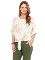 Boat Neck Tie Front Floral Knit Top