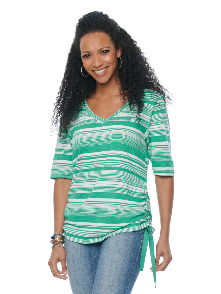 Elbow Sleeve V Neck Side Ruched Stripe Knit Tee Shirt