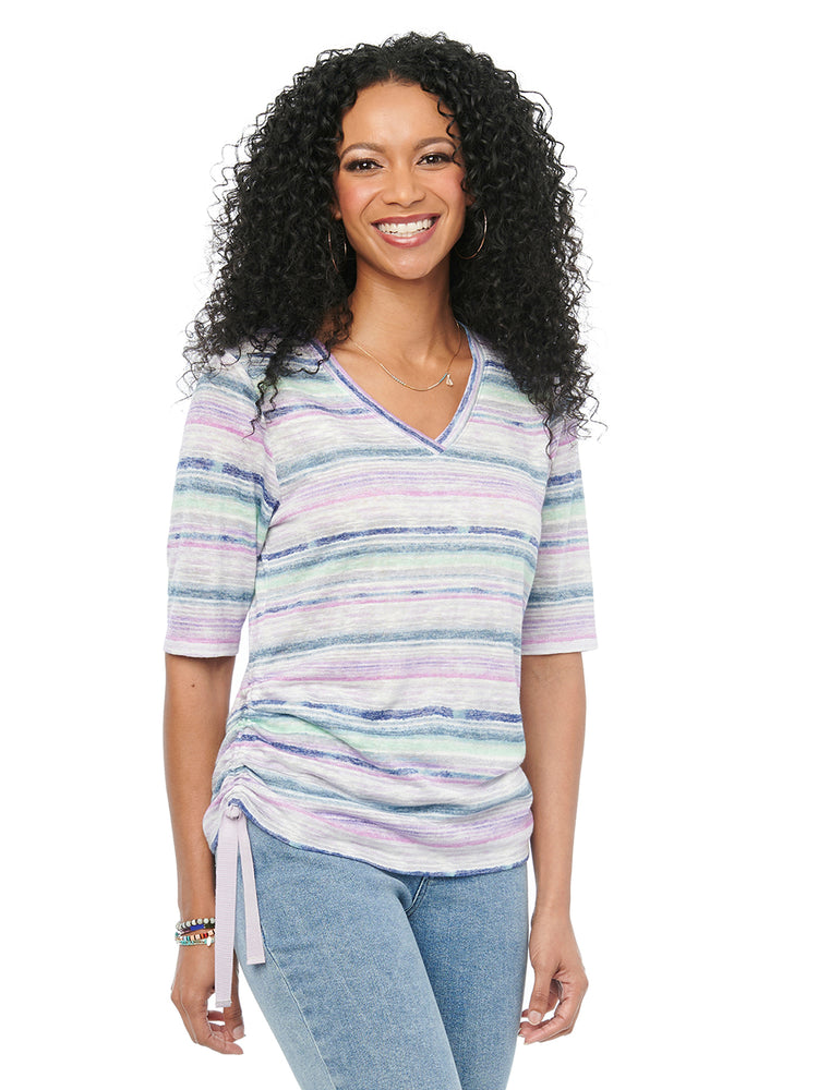 Womens Fashion Top Lavender Multi Colored Stripe V Neck Tshirt Ruched Super Soft Knit Tee Elbow Sleeve Shirt