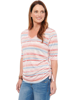 Elbow Sleeve Stripe V Neck Ruched Tee Shirt Super Soft Fashion Knit Top Pink Multi t-shirts
