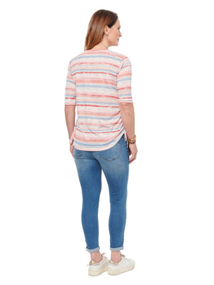 Stripe V Neck Ruched Elbow Sleeve Tee Shirt