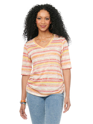 Womens Fashion Top Rose Multi Color Stripe V Neck Tshirt Ruched Super Soft Knit Tee Elbow Sleeve Shirt