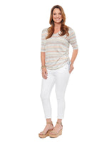 Stripe V Neck Ruched Tee