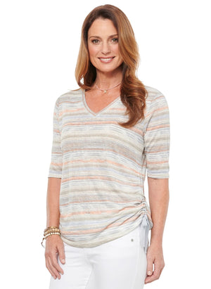 Elbow Sleeve Stripe V Neck Ruched Tee Shirt Super Soft Fashion Knit Top Taupe Multi t-shirts