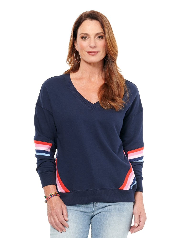 Load image into Gallery viewer, Rib Insert Double V Sweatshirt