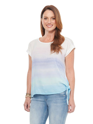 Short Sleeve Ombre Watercolor Print Side Tie Womens Fashion Knit Top
