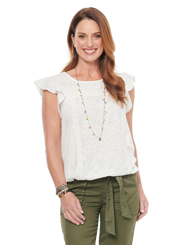 Embroidered Flutter Sleeve Tank