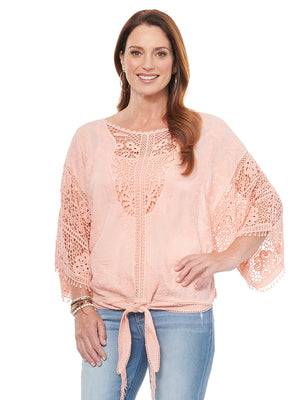 Kimono Sleeve Open Crochet Fashion Tie Front Woven Top Coral Pink