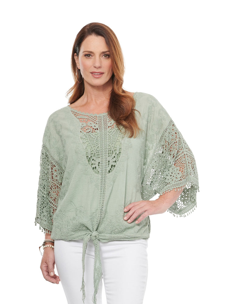 Load image into Gallery viewer, Kimono Sleeve Crochet Tie Front Woven Top Desert Sage