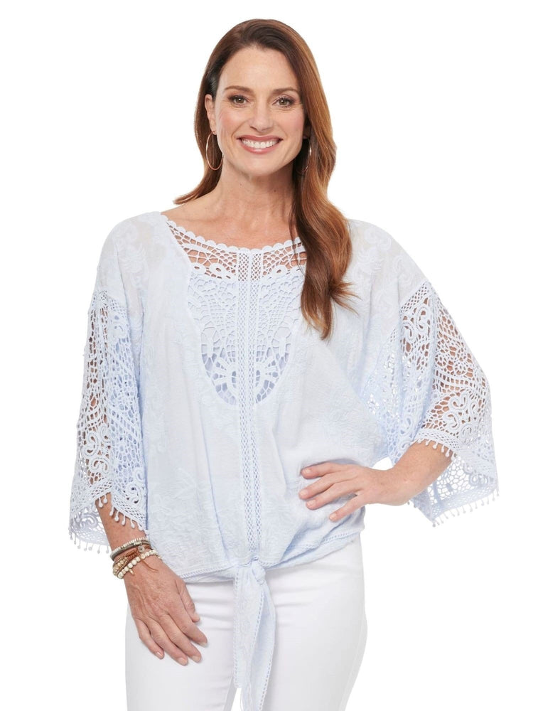 Kimono Sleeve Open Crochet Tie Front Woven Top Icy Blue