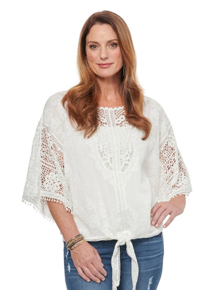 Load image into Gallery viewer, Kimono Sleeve Open Crochet Tie Front Woven Top White