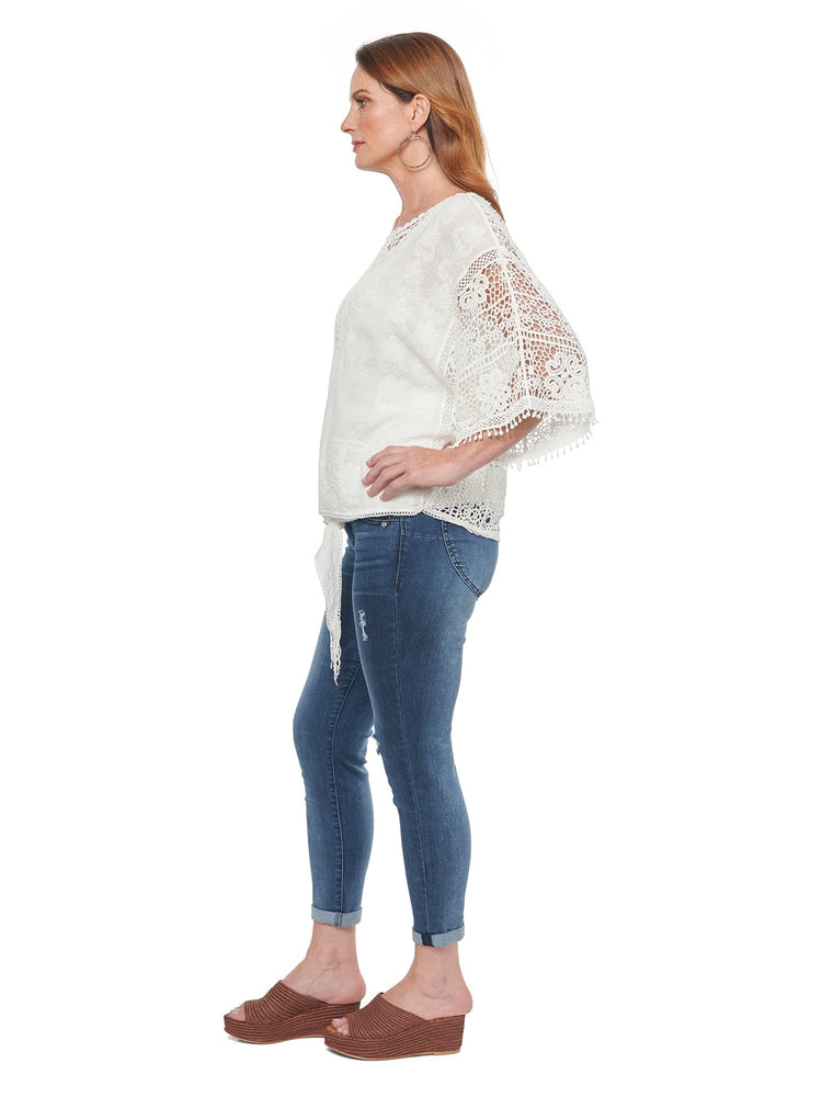 Load image into Gallery viewer, Kimono Sleeve Crochet Woven Top