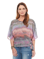 Elbow Sleeve Side Tie Tie Dye Top