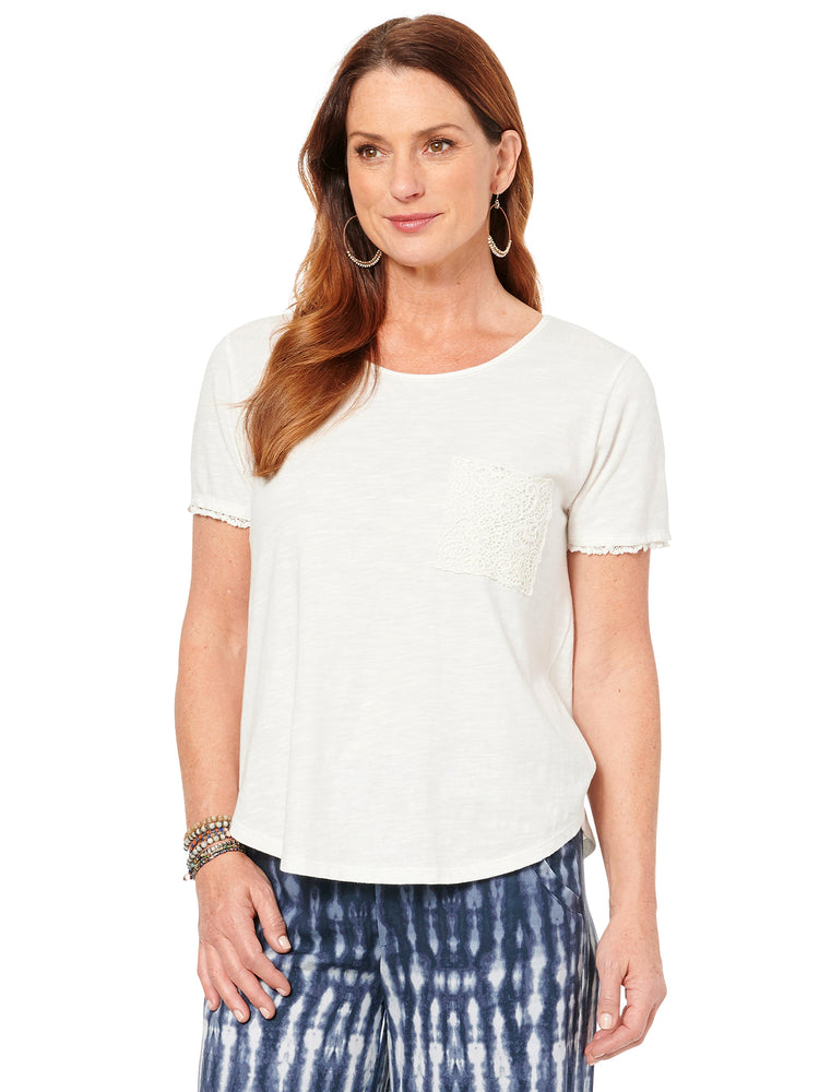 Scoop Neck Twist Back Crochet Pocket Shirttail Top