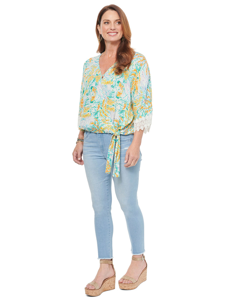 Abstract Floral Kimono Sleeve Tie Front Top