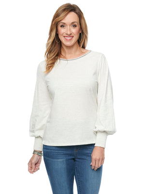 Blouson Long Sleeve Scoop Neck Off White Knit Top