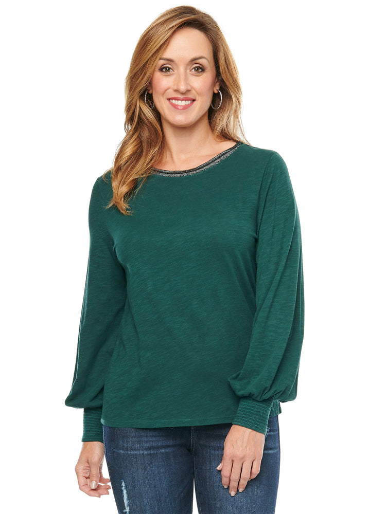 Load image into Gallery viewer, Blouson Long Sleeve Metallic Knit Top womens fashion alpine dark green