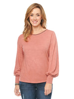 Blouson Long Sleeve Metallic Knit Top womens fashion rose pink