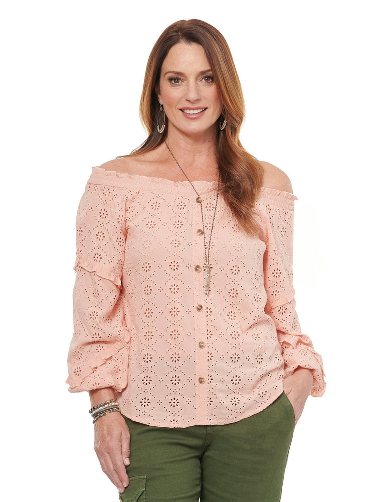 Off Shoulder Eyelet Woven Top
