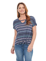 Stripe Cut Out Scoop Knit Top