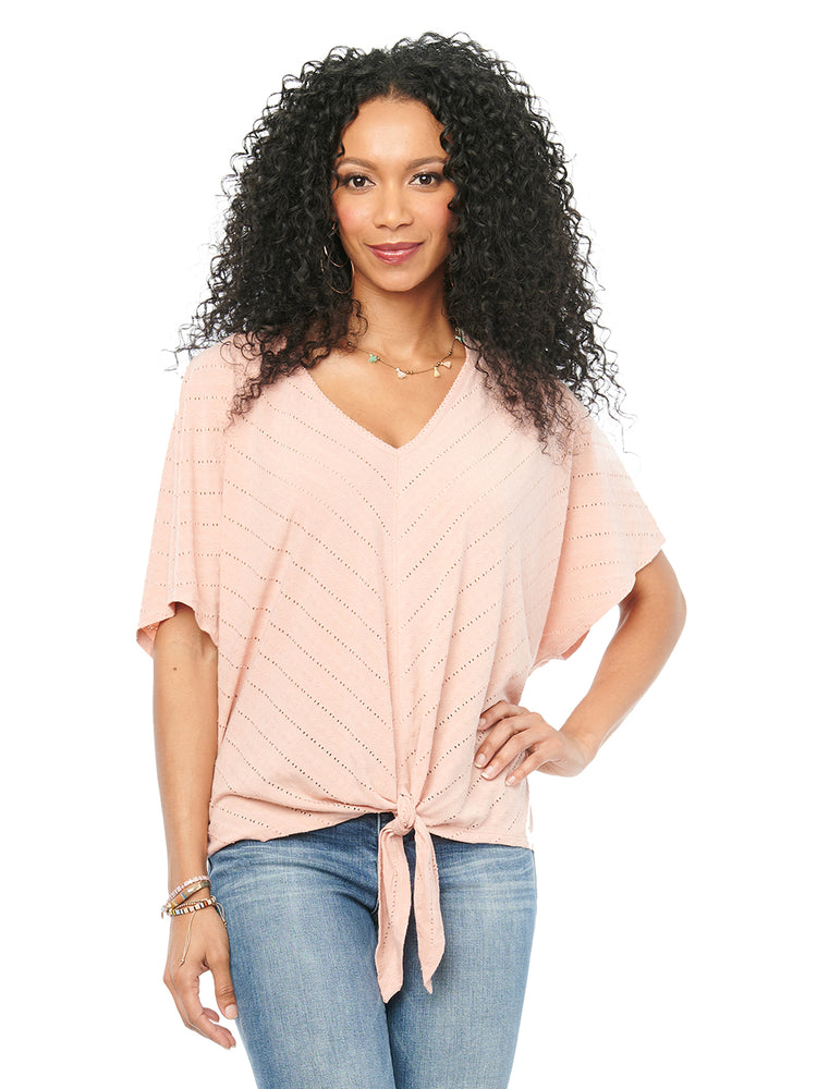 Flattering Tie Front Mitered Pointelle Stitch Womens Fashion Top Dusty Pink V Neck Kimono Elbow Sleeve Spandex Jersey Knit Tshirt