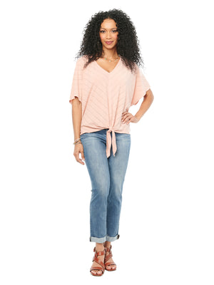 Load image into Gallery viewer, Kimono Elbow Sleeve V Neck Mitered Stripe Dusty Pink Knit Top