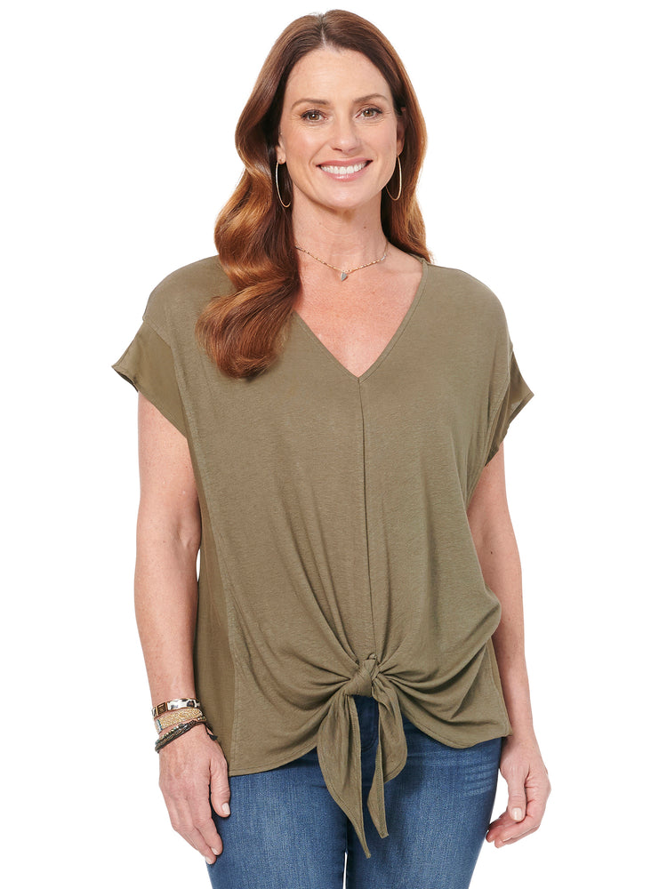 V Neck Tie Front Knit & Woven Top
