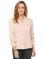 Ruched Ruffle 3/4 Sleeve Button Down Woven Shirt