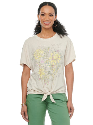 Womens Fashion Knit Top Short Sleeve Scoop Neck Floral Screen Printed Tee Shirt