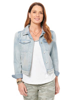 Puff Sleeve Shoulder Light Blue Denim Jean Jacket