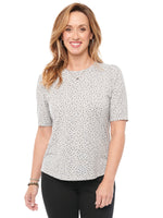 Elbow Sleeve Scoop Neck Heathered Printed Knit Top