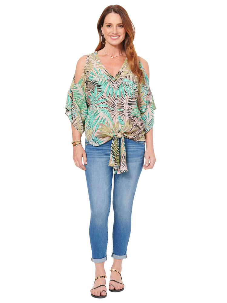 Cold Shoulder Double V Palm Print Plus Top