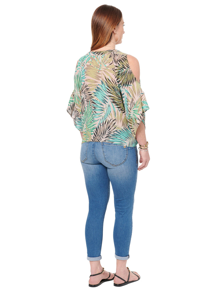 Cold Shoulder Double V Palm Print Woven Top