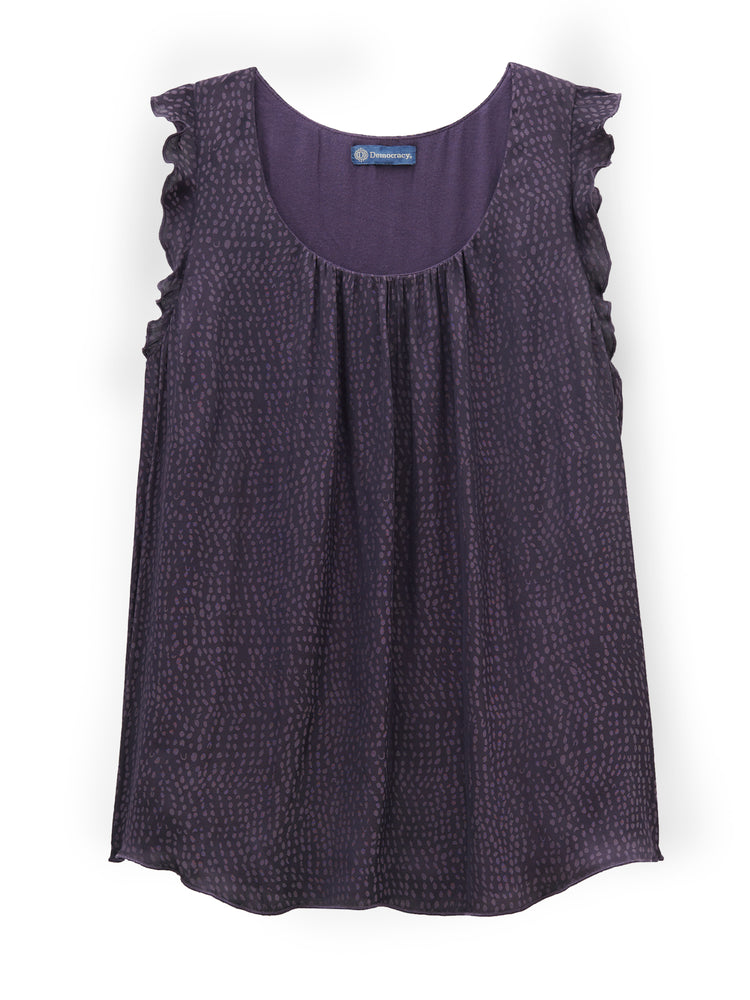 Load image into Gallery viewer, Ruffle Sleeveless U Neck Knit & Woven Tank