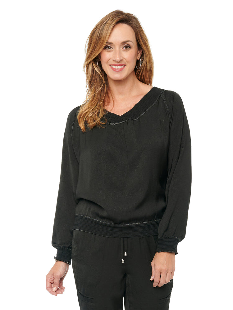 Load image into Gallery viewer, Womens Fashion Top Silky Crinkle Textured Sateen Banded Metallic Merrow Edge V Neck Raglan Long Sleeve Top Black
