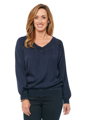 Womens Fashion Top Silky Crinkle Textured Sateen Banded Metallic Merrow Edge V Neck Raglan Long Sleeve Top Navy Blue