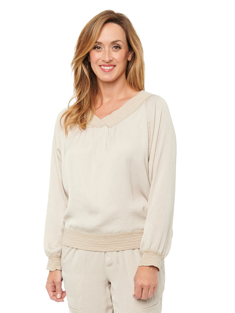 Load image into Gallery viewer, Womens Fashion Top Silky Crinkle Textured Sateen Banded Metallic Merrow Edge V Neck Raglan Long Sleeve Top Pearl Barley