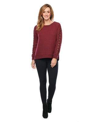 Long Sleeve Lace Inset Boat Neck Knit Top