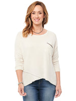 3/4 Sleeve Scoop Neck Oatmeal Pocket Knit Top