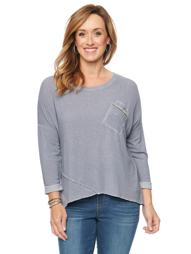 3/4 Sleeve Roll Cuff Scoop Neck Pocket Knit Top