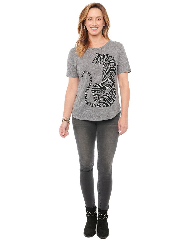 Short Sleeve Scoop Neck Tiger Screen Knit Tee