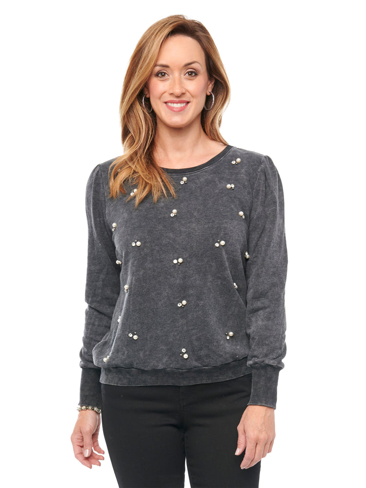 Load image into Gallery viewer, Long Blouson Sleeve Faux Pearl & Stone Black Pullover Sweatshirt