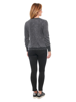Long Blouson Sleeve Faux Pearl & Stone Black Sweatshirt