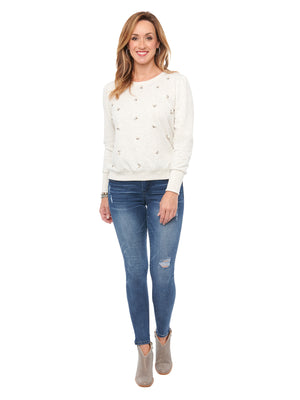 Load image into Gallery viewer, Blouson Sleeve Faux Pearl & Stone Off White Sweatshirt