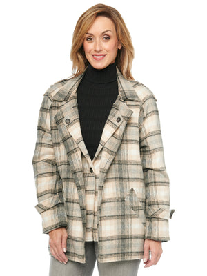 Plaid Printed Double Layer Lapel Front Pocket Coat