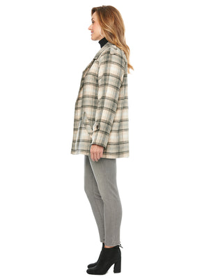 Load image into Gallery viewer, Plaid Printed Double Layer Lapel Front Pocket Coat