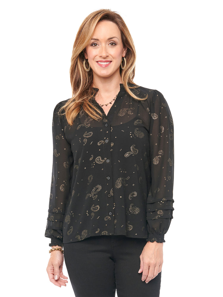 Load image into Gallery viewer, Long Sleeve Paisley Foil Print Woven Top