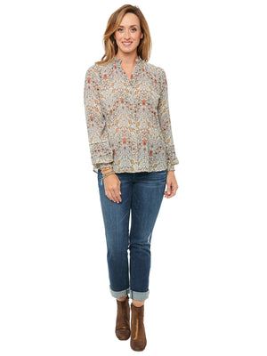 Load image into Gallery viewer, Pleat Blouson Long Sleeve Smock Neck Art Nouveau Woven Top