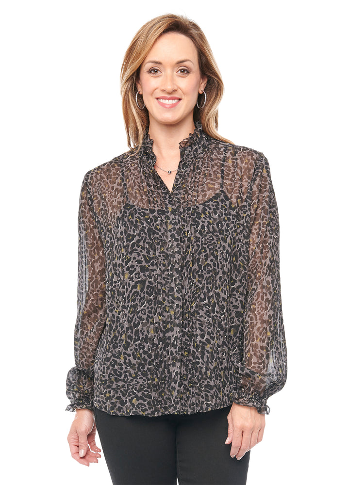 Load image into Gallery viewer, Blouson Long Sleeve Charcoal Leopard Animal Print Chiffon Blouse