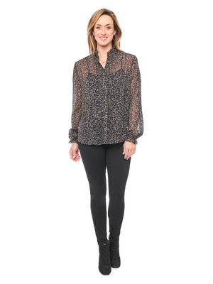 Load image into Gallery viewer, animal print chiffon blouse